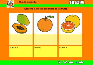 Escribir el nombre de las frutas
